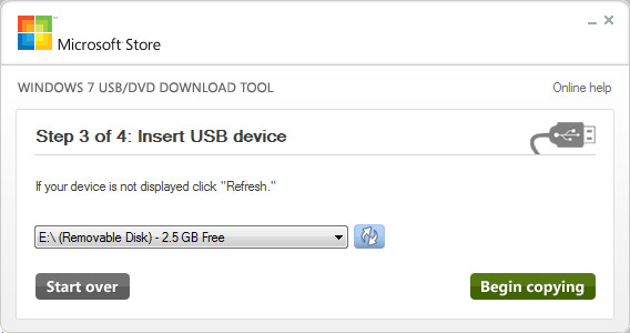 microsoft usb download tool step 1